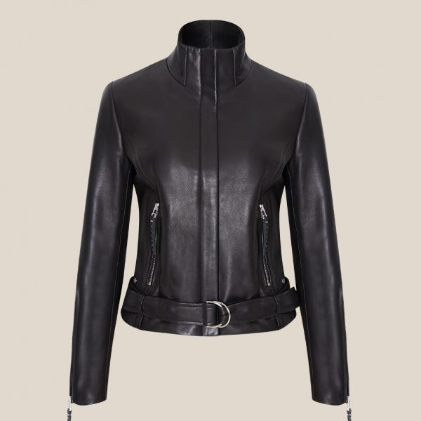 Klassische schwarze Lederjacke mit Stehkragen