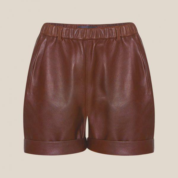 Cognacfarbene Leder Shorts von Ayasse