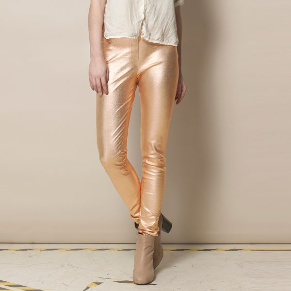 Lederleggings in gold