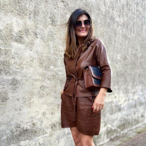 Lederjacke cognac im Komplett Outfit