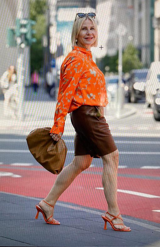 Business Outfit mit Ledershorts