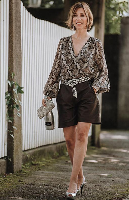 Outfit mit Ledershort