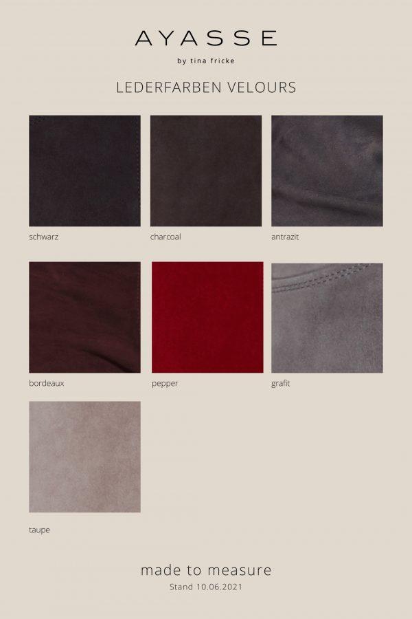 Lederfarben velours für made-to-measure Lederleggings